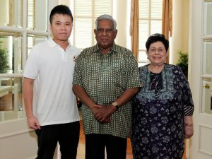 Mr Han Xuan Chou with Mr and Mrs S R Nathan