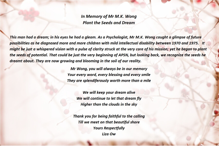 Tribute to Mr M K Wong